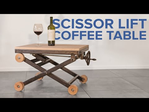Metal and wood scissor lift table - Industrial style coffee table