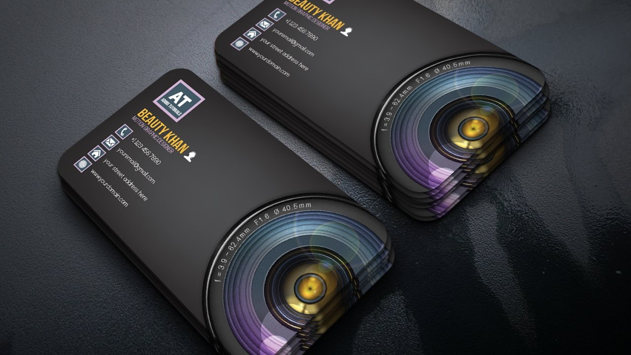 clean photography business card design adobe tutorials