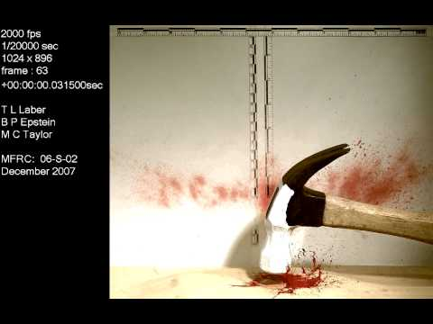 Impact-hammer into blood on a tape covered sponge | Blood Spatter Analysis
