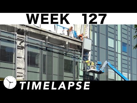 One-week construction time-lapse w/17 closeup segments: Week 127: curtain wall glass; concrete; more