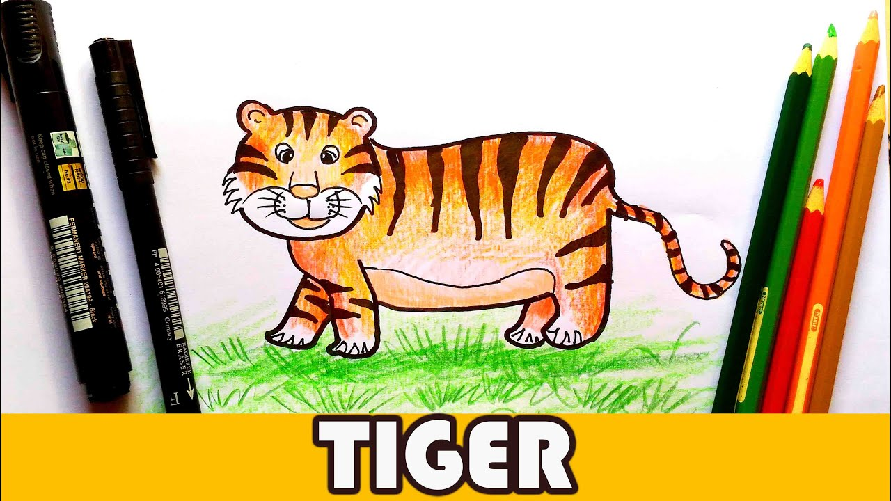 Uncategorized Tiger Drawing For Kids how to draw a tiger easy cartoon animal tutorial for kids youtube