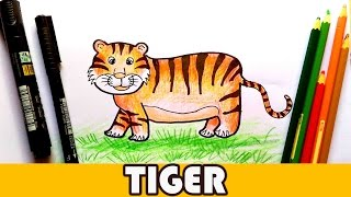 How To Draw a Tiger! Easy Cartoon Tiger Animal tutorial - For Kids!
