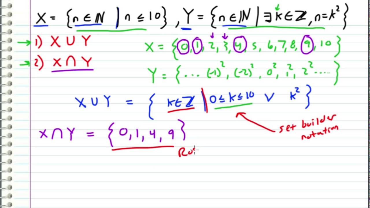 Discrete Math Union And Intersect Of Two Sets Example Request