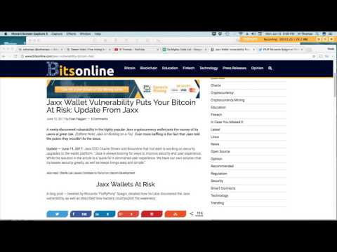 Beware: Jaxx Wallet Security Vulnerability