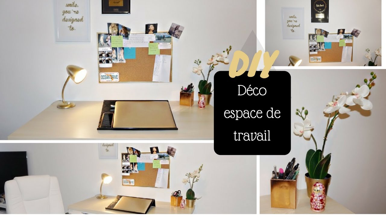 Diy d co bureau espace de travail colashood2 youtube for Deco bureau