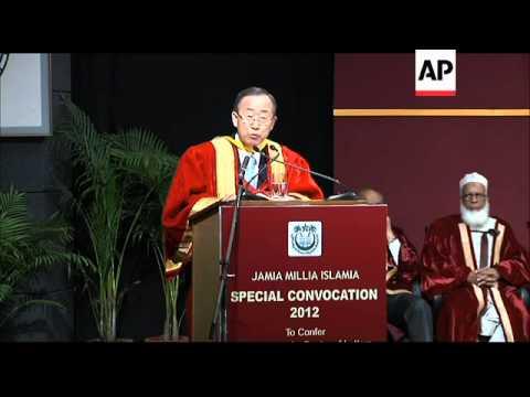 UN Secretary General Ban Ki-moon receives doctorate