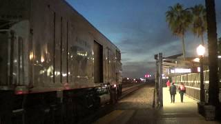 Amtrak Pacific Surfliner departing at Fullerton station with a Horizon cars & amfleet car 2017-11-11