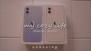 SUB) iPhone 11 Unboxing 📦 white & purple 🌼💜 (cozy vibes)