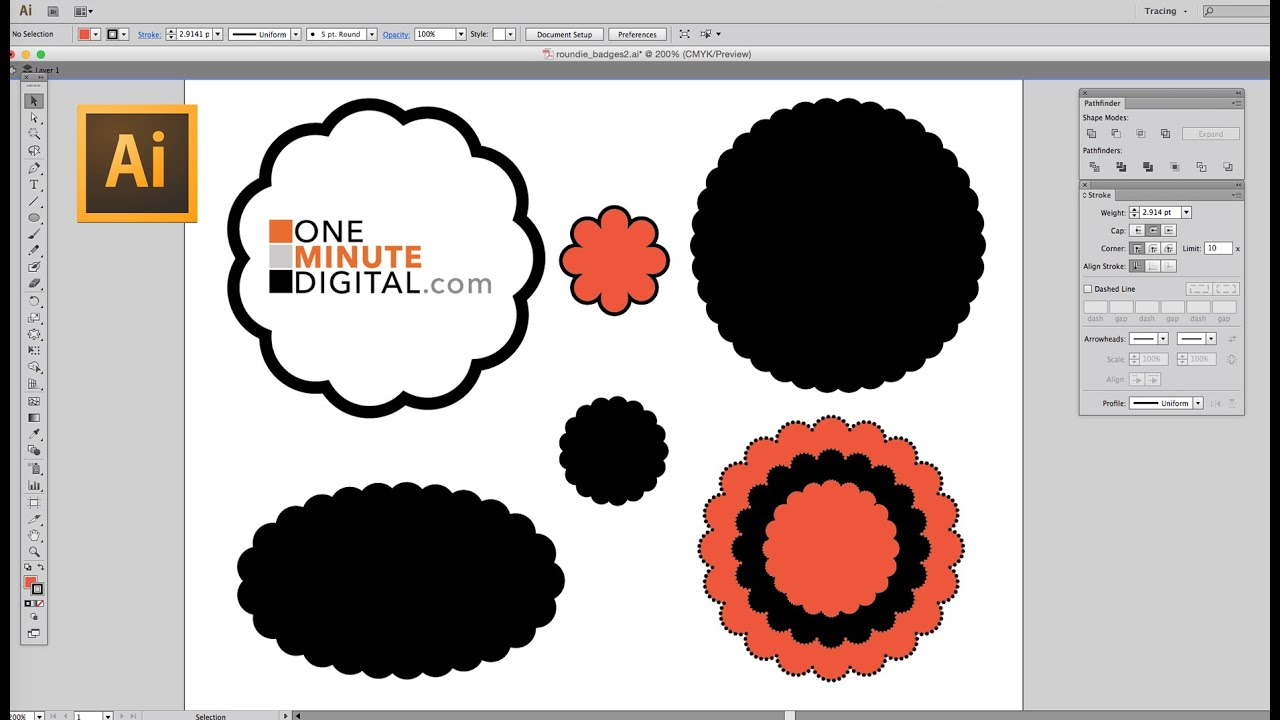 make a round scalloped edge circle in illustrator