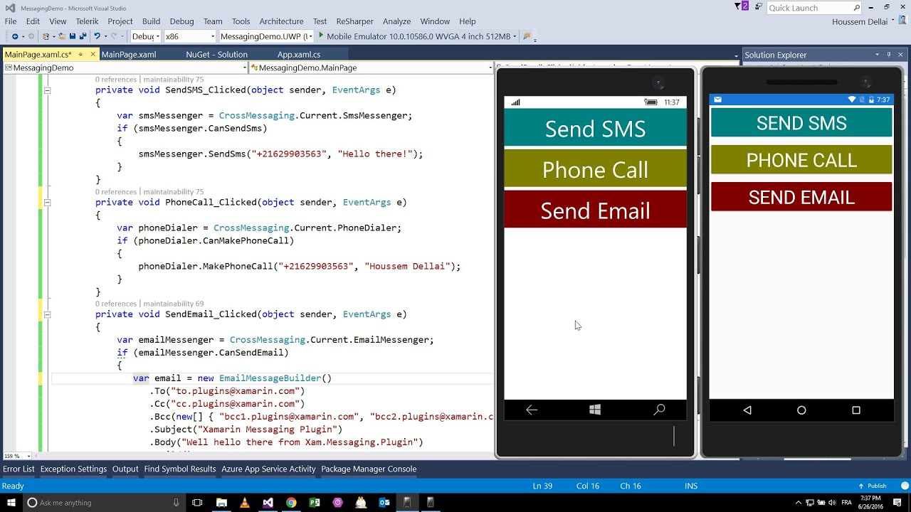 Using SMS, Email, Phone Call with Xamarin Forms