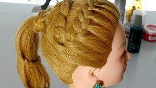 Braided hairstyle for long hair. Spiral braid tutorial