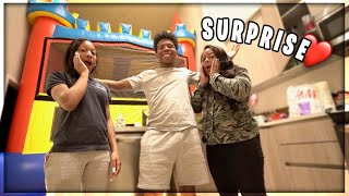 I SURPRISED MY MOM AND SISTER WITH A BOUNCE HOUSE IN OUR LIVING ROOM! *Crazy Reaction*