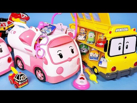 Robocar Poli ambulance bus car and Kinder Joy Surprise eggs toy