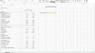 Calculating Working Capital in Excel