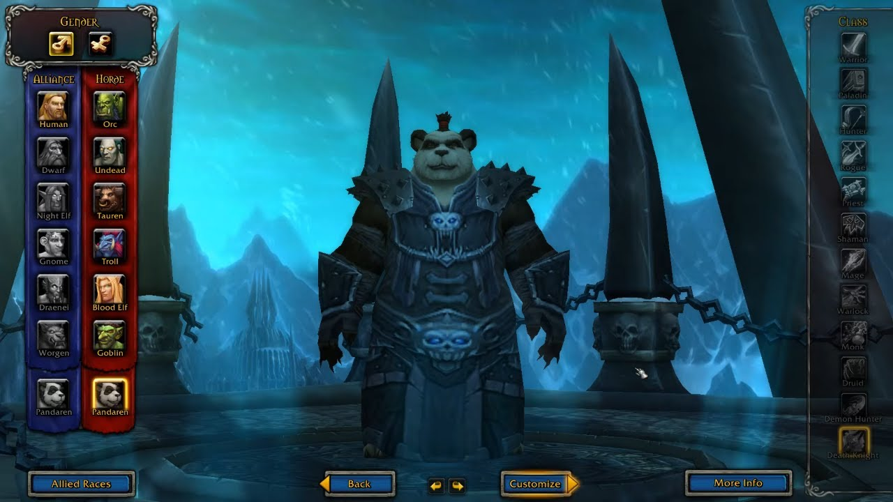 Death Knight Allied Races Pandaren Added On Patch 8 3 Visions Of N Zoth Youtube