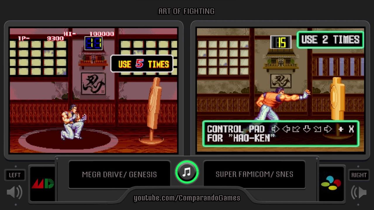Art Of Fighting Sega Genesis Vs Snes Bonus Stages Comparison