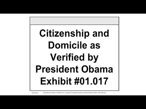 Citizenship and Domicile as Verified by President Obama, Exhibit #01.017