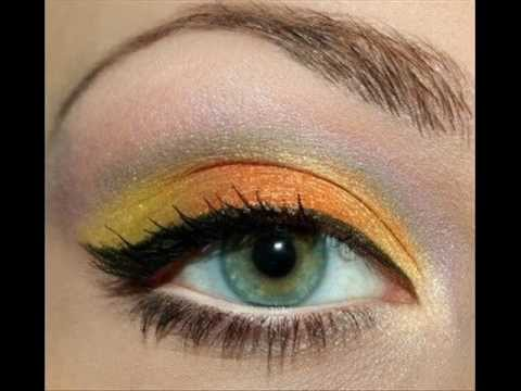 Макияж в жёлтых и оранжевых тонах.