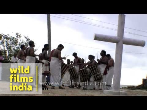 Chenda Melam group performing during mother Mary feast celebration