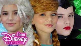 1 hour Disney Princess Makeup! Frozen Elsa, Anna, Maleficent