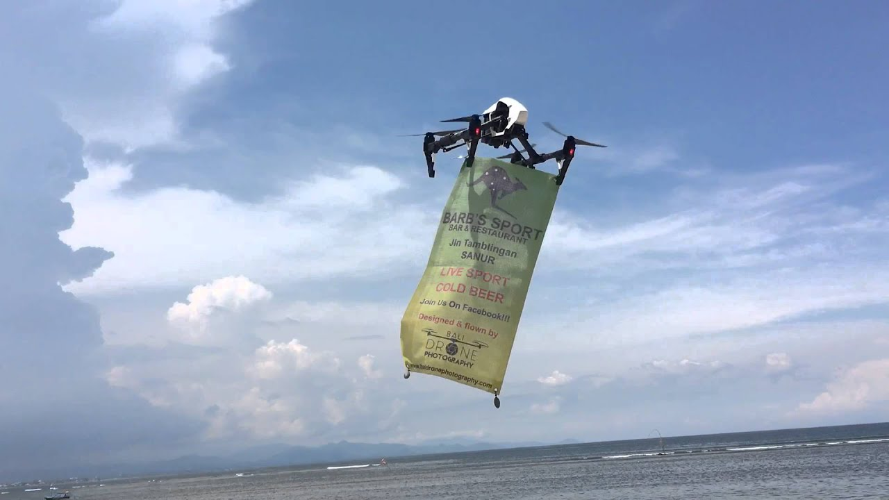 Barb's Sports Bar. Drone advertising. Sanur Beach. Sanur Bali Indonesia