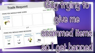 Roblox SCAMMER GIVING ME STOLEN LIMITEDS | Trolling