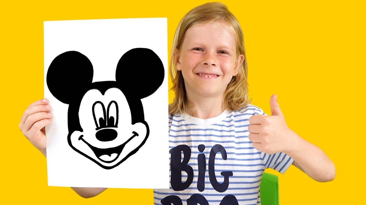 How to draw Mickey Mouse   Drawing and Coloring Challenge for kids with Gary