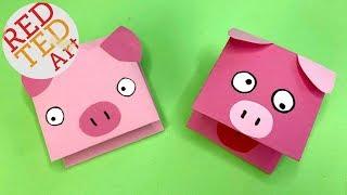 Paper Pig Puppet Craft - Easy Pig DIYs