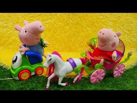 Свинка Пеппа! Новая игра для детей: мягкие игрушки в детском парке катаются на лошадке!
