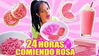 24 HOURS EATING ONLY PINK COLOR FOOD CHALLENGE | SandraCiresArt