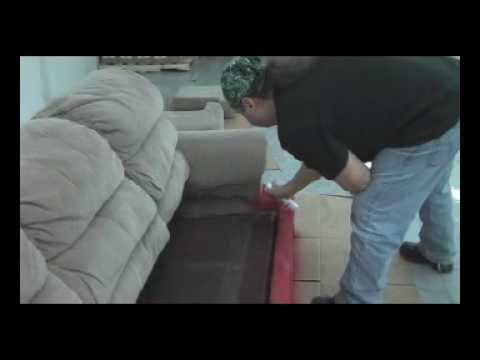 how to paint a sofa with fabric spray paint youtube. Black Bedroom Furniture Sets. Home Design Ideas
