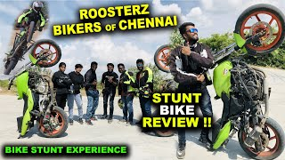 MY FIRST BIKE STUNT EXPERIENCE !! Famous Biker Boys & Girls of Chennai - Roosterz