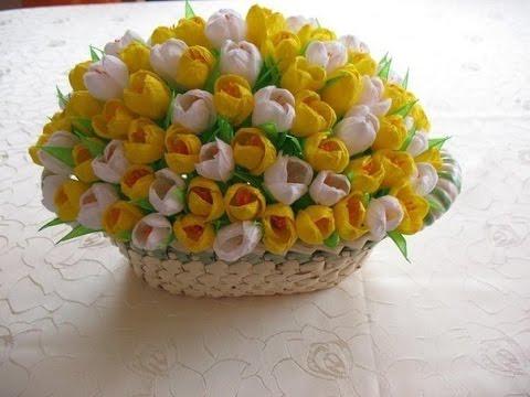 Красивые цветы из гофрированной бумаги  мастер класс 4
