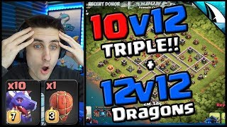 *INSANE* 10v12 Triple After Update!! + 12v12 Dragon Triples   Clash of Clans