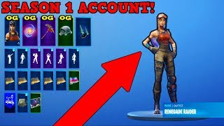RARE SEASON 1 ACCOUNT WITH OG RENEGADE RAIDER! (CHECKERED STYLE!) | Fortnite Stacked Accounts!