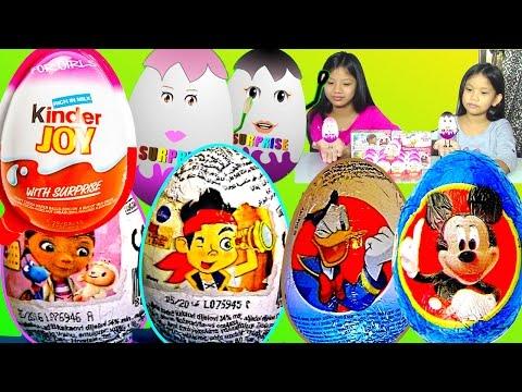Barbie Kinder Surprise Eggs Disney Mickey Mouse Doc McStuffins Zaini Surprise Eggs - Kids' toys