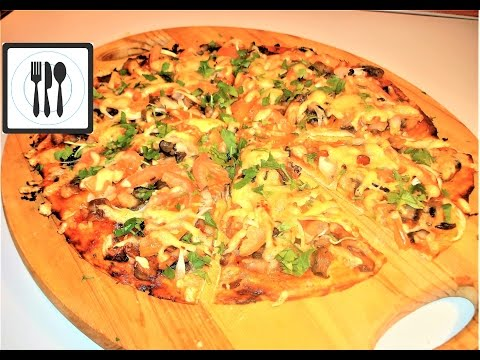 рецепт пиццы с курицей и грибами