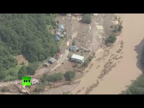 Lionrock typhoon slams into Japanese areas still recovering from 2011 tsunami – aerial footage