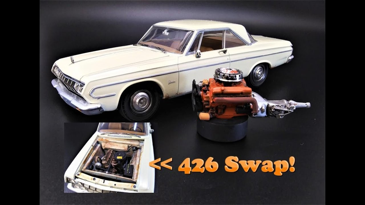1964 Plymouth Belvedere 426 Wedge 225 Slant Six 1/25 Scale Model Kit Build Review and Weathering AMT