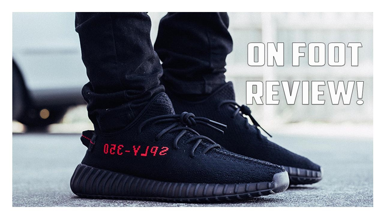 71b361db76d5a Yeezy Boost 350 V2 Black Red CP9652 On Foot Review! - YouTube