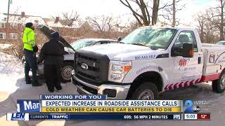 Roadside assistance calls can increase during cold weather