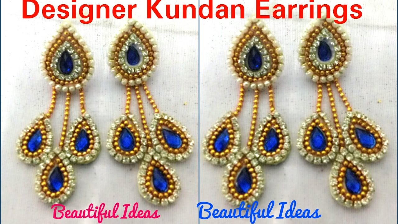 Attractive DIY/How To Make Designer Kundan Earrings Made Out Of Paper At Home..Tutorial