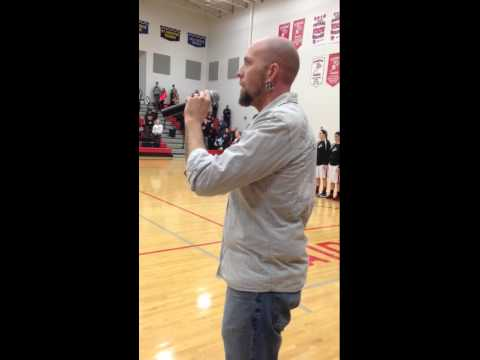JJ Johnson sings the National Anthem at Dunkerton High School January 31,2015