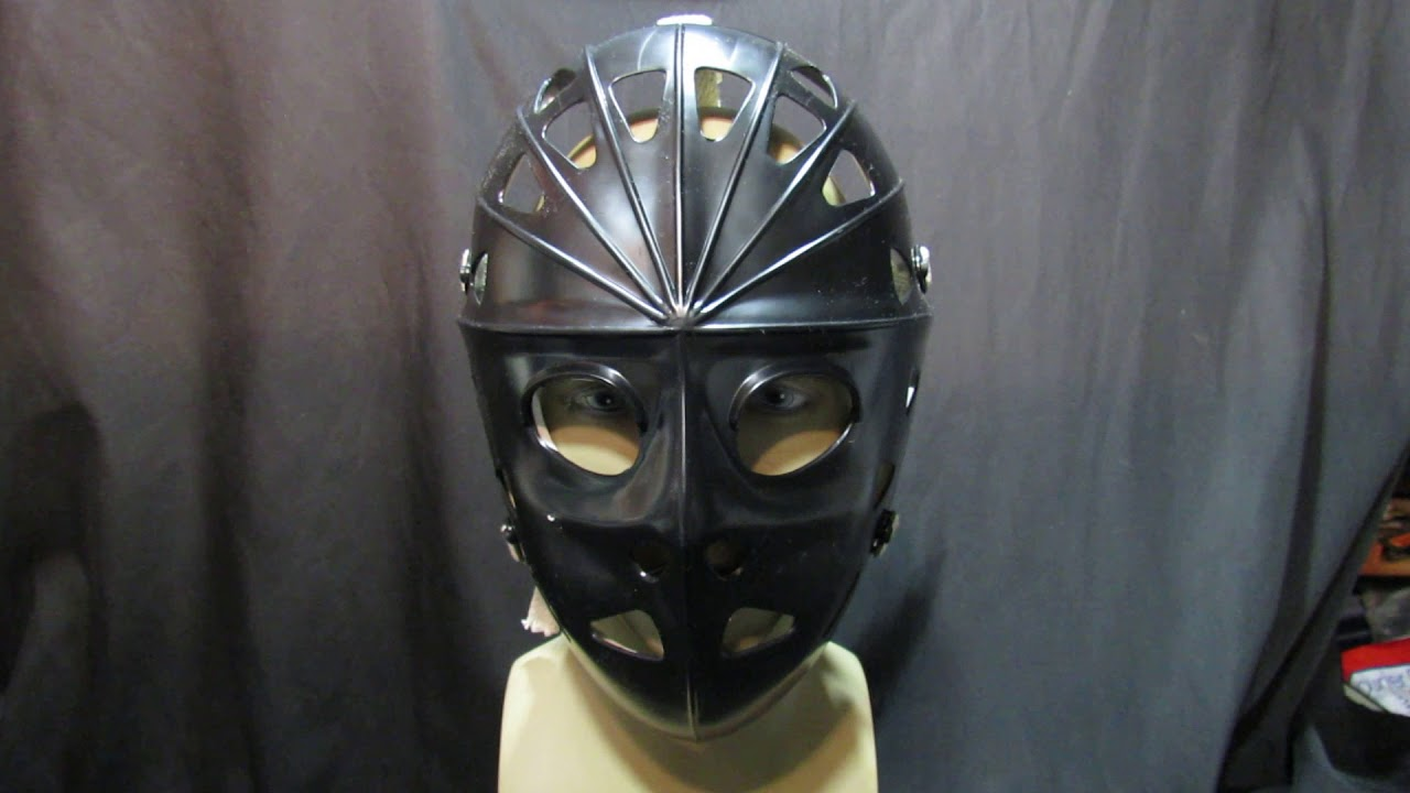 Hockey Goalie Mask In Black By Mylac With Full Head Harness /& Back Plate// Video