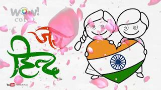 How to Draw Kids Love with Indian Flag Coloring Page    Step by Step   Creative Drawing for Kids