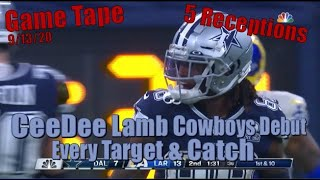 CeeDee Lamb Cowboys Debut - Every Target & Catch Against the Rams 9/13/20