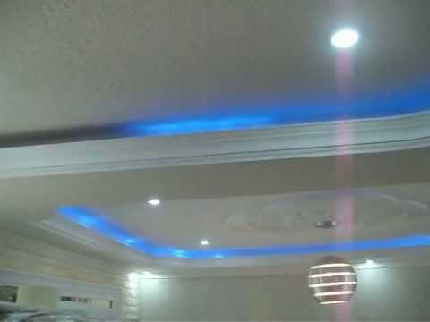 Drywall techo decorado en yeso youtube for Techos en drywall para casas