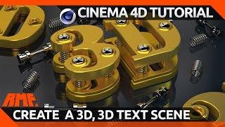 Cinema 4D Tutorial - Create a 3D 3D Text Scene