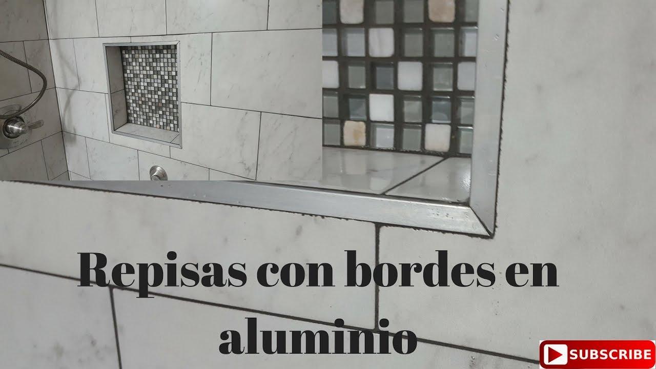 Repisas de ba o con bordes de aluminio youtube for Repisas para bano rimax
