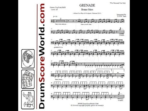 Drum Score World (Sample) - Bruno Mars - Grenade
